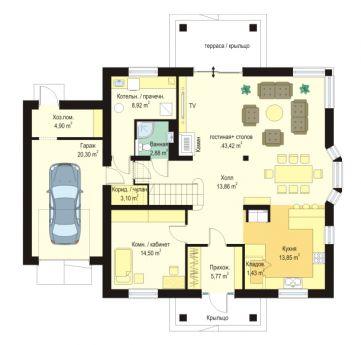 Проект дома Аманда - эскиз первого этажа