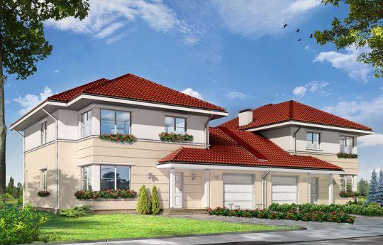 Проект дома Аметист 2 -  визуализация лицевого фасада