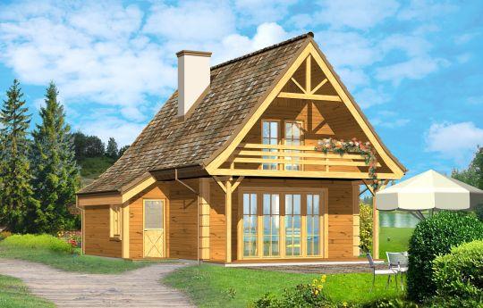 Проект дома Хатка Деревянная - визуализация, вид спереди