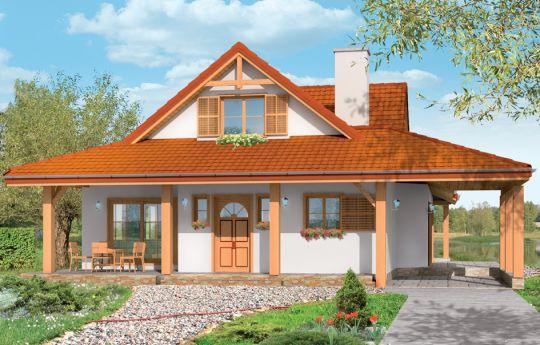 Projekt domu Czapla - wizualizacja frontu