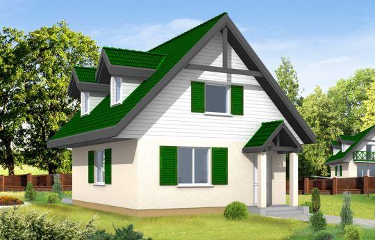 Projekt domu D03 - wizualizacja frontu
