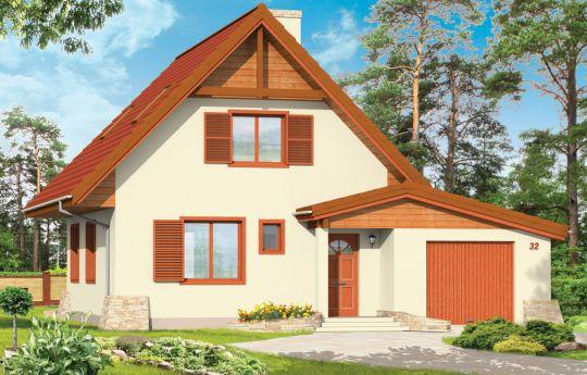 Projekt domu D03 z Garażem - wizualizacja frontu