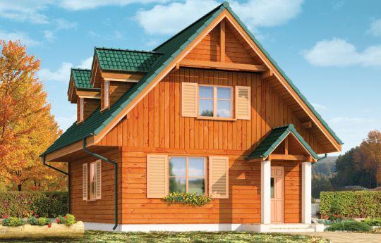 Projekt domu D03 Grześ Drewniany - wizualizacja frontu