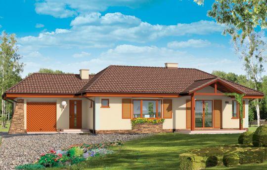 Проект дома D05 с Гаражом -визуализация, вид спереди