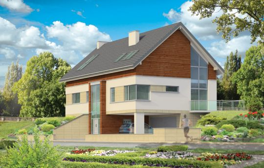 Проект дома Дом на Горке - визуализация, вид спереди