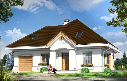 Projekt domu Figiel 2 - wizualizacja frontu