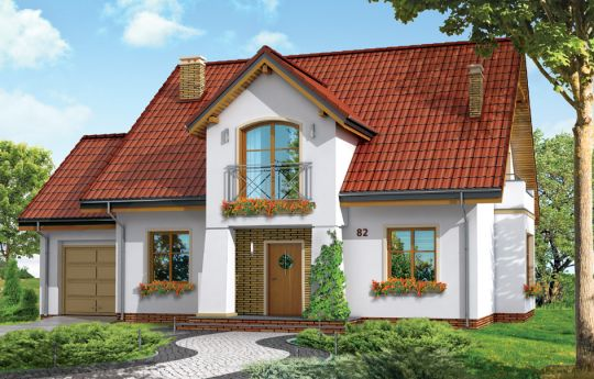 Проект дома Любимчик - визуализация, вид спереди