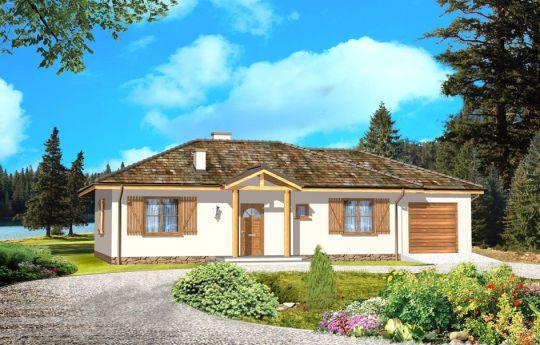 Проект дома Как Мечта с гаражом - визуализация, вид спереди
