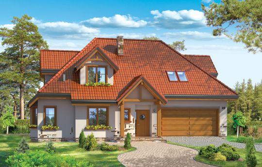 Projekt domu Jesion 2 - wizualizacja frontu