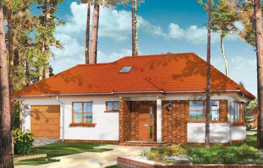 Projekt domu Klejnot z garażem - wizualizacja frontu