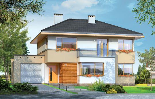 Projekt domu Nieduży - wizualizacja frontu