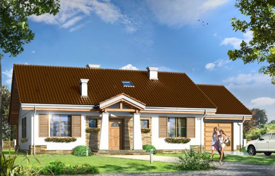 Проект дома Незапоминайка с Гаражом - визуализация, вид спереди