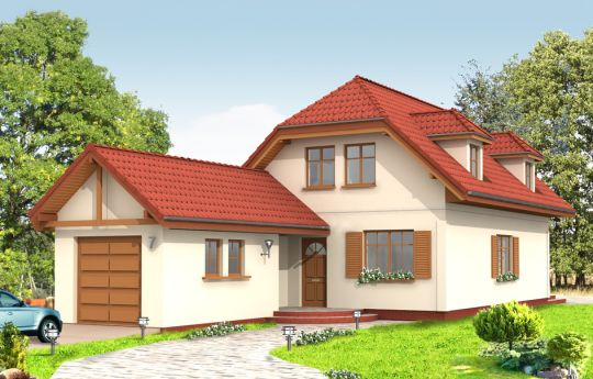 Projekt domu Pierwszy Dom 2 - wizualizacja frontu