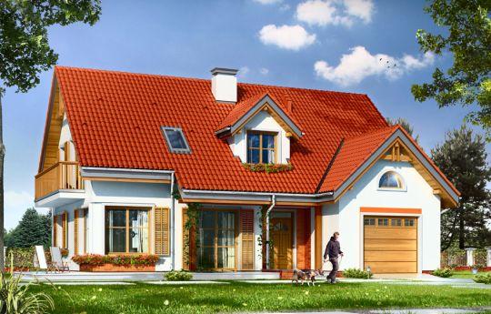 Projekt domu Pod dębami - wizualizacja frontu