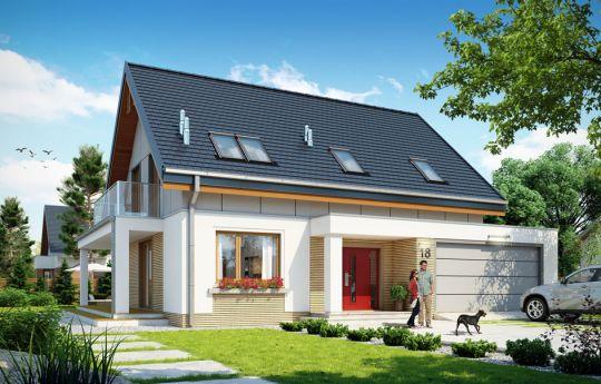 Projekt domu Albatros 2 - wizualizacja frontu