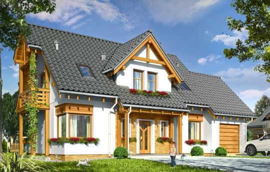 Projekt domu Bartek - wizualizacja frontu