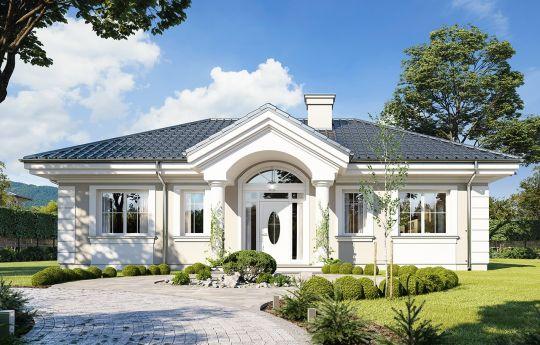 Projekt domu Dom na dębowej - wizualizacja frontu new