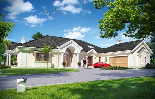 Проект дома Резиденция Парковая 2 - визуализация, вид спереди