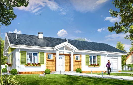 Проект  дома Солнечный с Гаражом 2 - визуализация, вид спереди