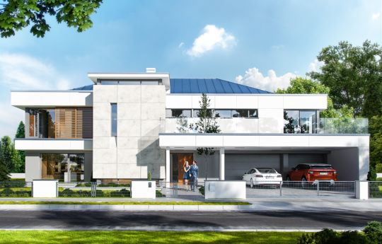 Projekt domu Willa Floryda - wizualizacja frontu