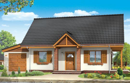 Проект дома Радостный с Гаражом - визуализация, вид спереди