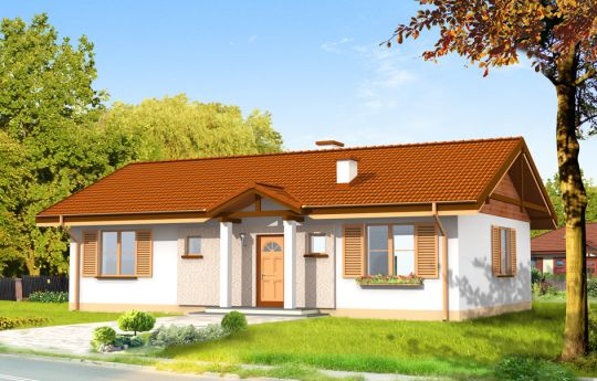 Проект дома Солнечный - визуализация, вид спереди