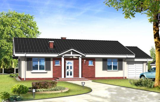 Проект дома Солнечный с Гаражом - визуализация, вид спереди