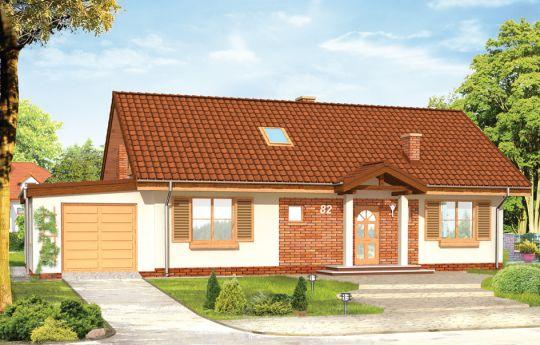 Проект дома Солнечный с  Чердаком - визуализация, вид спереди