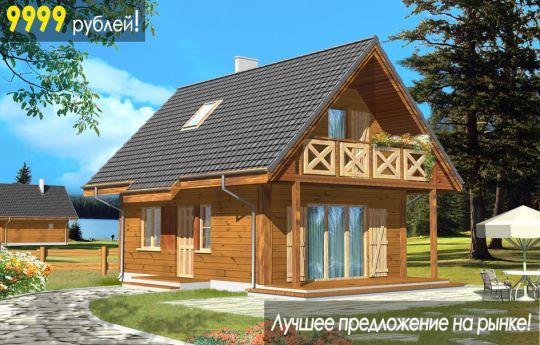 Проект дома Сосенка Деревянная - визуализация, вид спереди