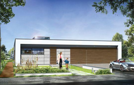 Projekt domu Willa Atrium - wizualizacja frontu