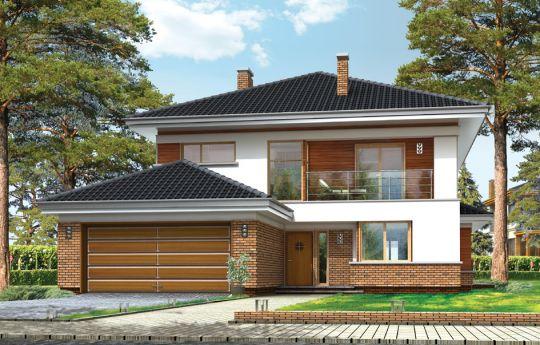 Проект дома Вилла на Боровой - визуализация, вид спереди