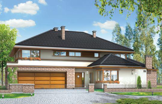 Проект дома Вилла с Бассейном - визуализация, вид спереди