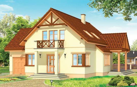 Projekt domu Wiosenny - wizualizacja frontu