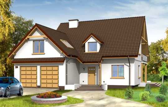 Projekt domu Zalesie - wizualizacja frontu