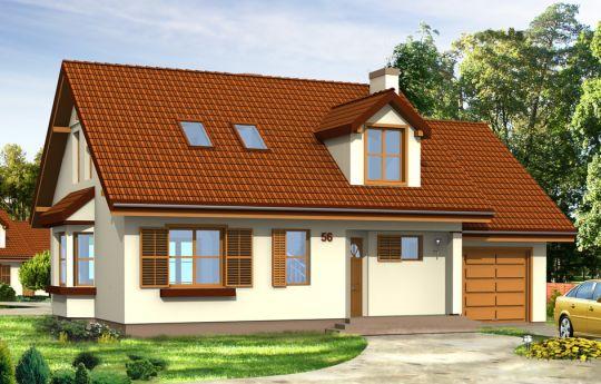 Projekt domu Zgrabny z lukarnami - wizualizacja frontu