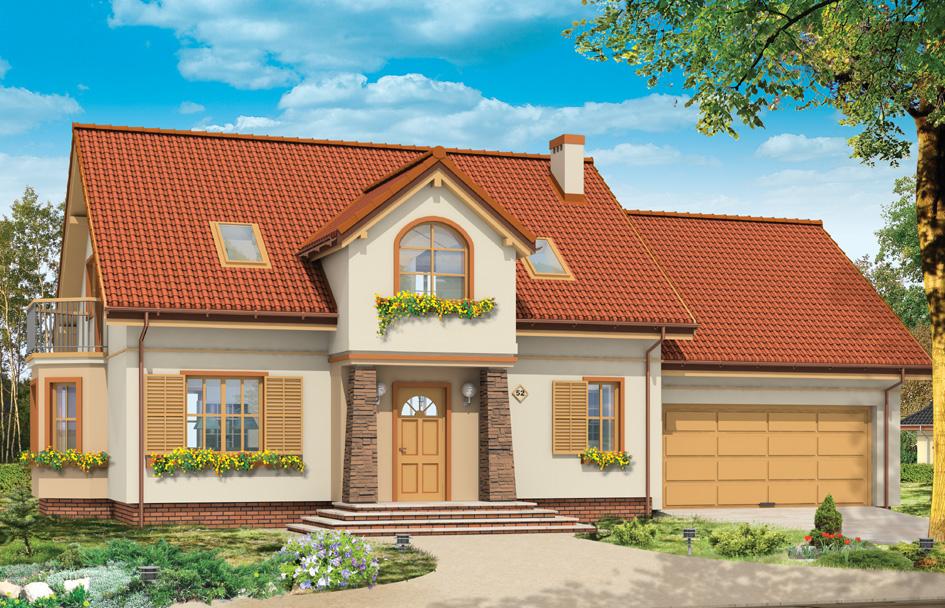 Проект дома Стройный 5 - визуализация, вид спереди